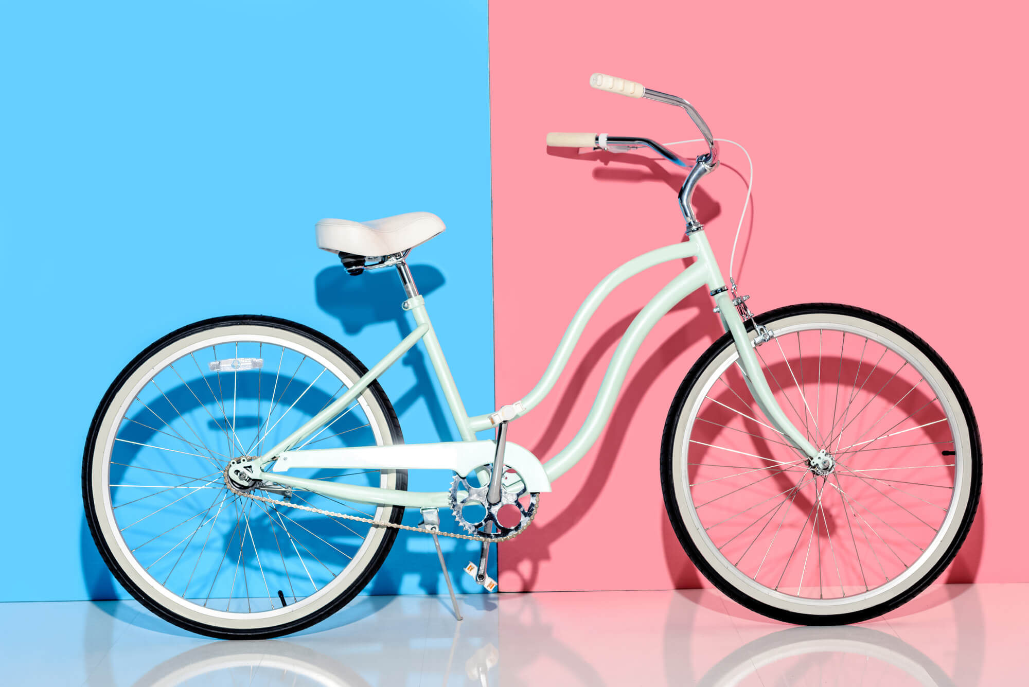 bike against blue and pink background
