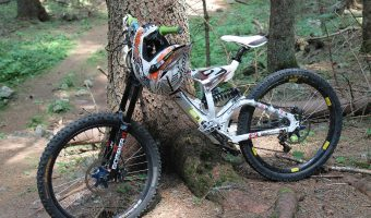 A helmet hanging on a mountain bike parked beside the tree