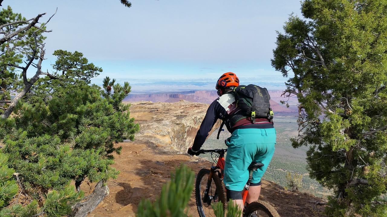 Biker wearing red best mountain bike helmets